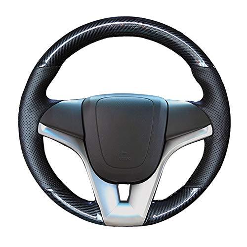 HCDSWSN Auto-Lenkradbezug aus schwarzem Kohlefaser-Leder für Chevrolet Cruze 2009-2014 Aveo Orlando Holden Cruze Ravon R4 (Leder Holden)