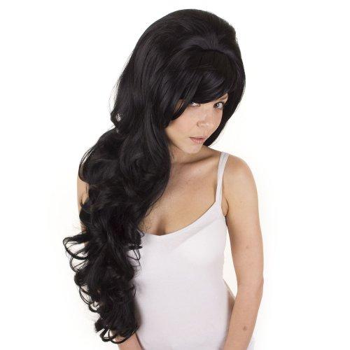 Extra lange schwarze lockige Perücke Volumen | Amy Winehouse Tribut Perücke | Toupierten schwarze Perücke (Lange Extra Perücke Schwarze)