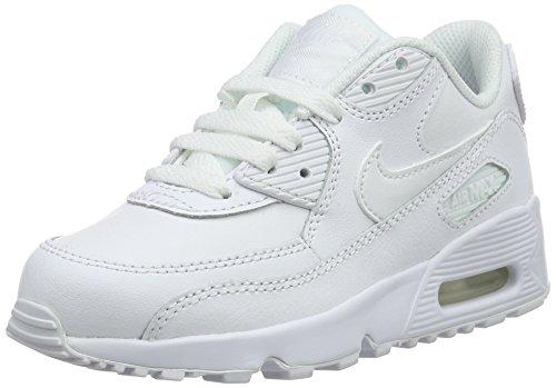 Nike Jungen Boys Air Max 90 Leather (Ps) Traillaufschuhe, Weiß White 100, 34 EU (Weiße Nike Boys Sneakers)