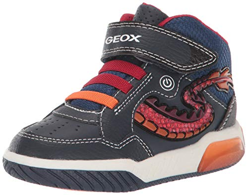 Geox j inek boy e, scarpe da ginnastica a collo alto bambino, blu (navy/red c0735), 30 eu