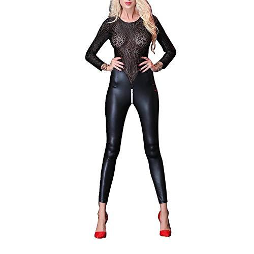 Kalaokei Frauen Faux Leder Leather Sheer Leopard Lace Patchwork Zip Open Groin Bodysuit Clubwear-Black M - Patchwork Zip