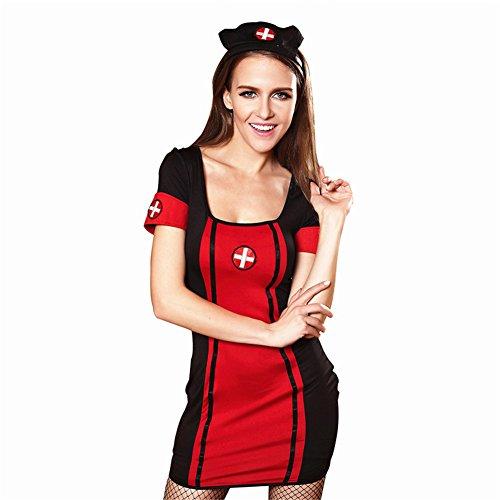 Damen Halloween Krankenschwester Kostüm Kleid Lang Shirt + Krankenschwester Hut Frauen Sexy Spaßuniformen Cosplay Nachtclub Kleidung Sexy Nachtwäsche TanzKostüme Bühnentracht (Hüte Billig Dress Fancy)
