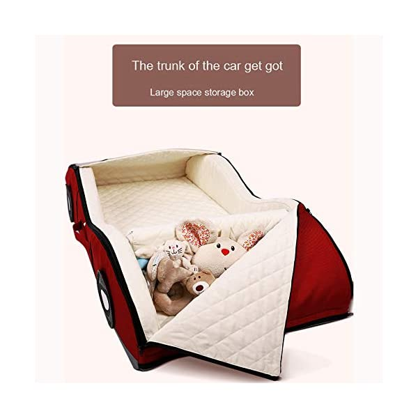 YANGGUANGBAOBEI Car Travel Crib,Breathable And Hypoallergenic Sleep Nest Newborn Lounger Pillow - Infant Toddler Cradle Multifunction Storage Bag,Red YANGGUANGBAOBEI ❤ [Safety material]:Our baby Mosquito net tents bed use certified non-toxic,lead free, baby safe material.breathable translucent mesh keeps parent easy view of your baby while keeps the air flowing and your baby dry,It is better for 0 -18 month baby ❤ [Save space]: Pop Up Baby Tent can be folded up nice and tight, making it so easy to put inside your backpack and bring it along to wherever you and your baby go. Take it to the park, the beach, a soccer Game, or simply in the living room for day-to-day use ❤[ tent]:Self-expanding screen tent that can be popped open and folded back down in seconds, two way zipper enable quick and convenient access to your baby inside the tent. 5