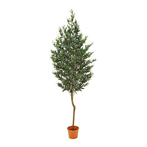 artplants Set 'Kunst Olivenbaum + Gratis UV Schutz Spray' – Künstlicher Olivenbaum Mattia, Naturstamm, mit Früchten, grün, 200 cm