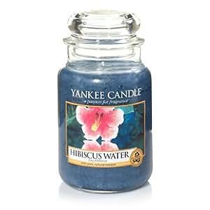 yankee candle kerze mit hibiskus wasser duft glas blau l jar candle k che haushalt. Black Bedroom Furniture Sets. Home Design Ideas