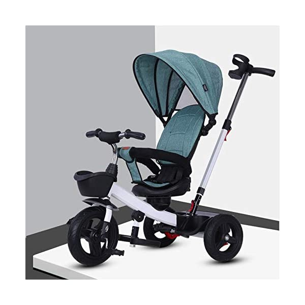 BGHKFF 4 In 1 Childrens Tricycles 1 To 5 Years 360° Swivelling Saddle 2-Point Safety Belt Children's Pedal Tricycle Folding Sun Canopy Children's Hand Push Tricycle Maximum Weight 50 Kg,Green BGHKFF ★Material: High carbon steel frame, suitable for children aged 1-5, maximum weight 50 kg ★ 4 in 1 multi-function: can be converted into a stroller and a tricycle. Remove the hand putter and awning, and the guardrail as a tricycle. ★Safety design: golden triangle structure, safe and stable; 2 point seat belt + guardrail; rear wheel double brake 1