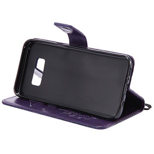 Custodia Galaxy S8 Plus - Dfly Premium PU Goffratura Mandala Design pelle Invisibile Forte chiusura magnetica Design Flip Cover, Per Samsung Galaxy S8 Plus, porpora porpora