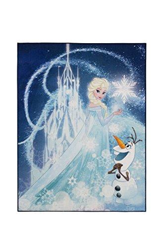 Aminata Kids Teppich Kinderzimmer Mädchen Disney Frozen 95x125 cm * Made in Europe * rutschhemmend lärmhemmend * Kinderteppich Eiskönigin Elsa Olaf Schneemann Prinzessin Spielteppich Spielunterlage (Schneemann-teppich)