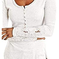 Geili Damen Bluse Langarm O-Ausschnitt Spitze Patchwork T-Shirt Frauen Slim Fit Knopf Hemdbluse Herbst Frühling... preisvergleich bei billige-tabletten.eu