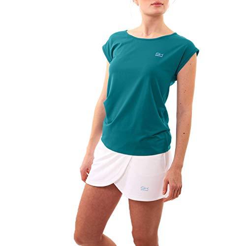 Sportkind Mädchen & Damen Tennis, Fitness, Sport Loose Fit T-Shirt, Petrol grün, Gr. 158 -