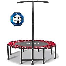 ISE Trampolín Fitness Plegable para Gimnasio con Mango, Cama Elástica Interior para Adultos Ajustable 116-132cm, Jumping Gym Trampoline para Entrenamiento Aprobado por TÜV, Máx. 120kg, Rojo SY-TGB