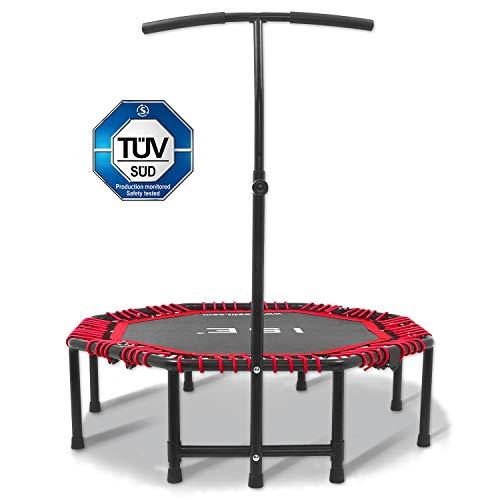 ISE Trampolín de fitness, trampolín interior plegable con asa ajustable en altura, entrenamiento de resistencia para adultos y niños, aprobado por TÜV, peso de usuario de hasta 120 kg, TGB-RE