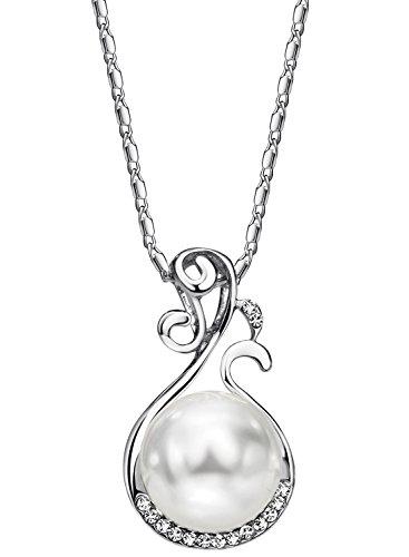 Neoglory Jewellery Silber Halskette mit Perlen und Strass Kugel weiß (Mädchen Einem Kostüm Ohrring Mit Design Perle)