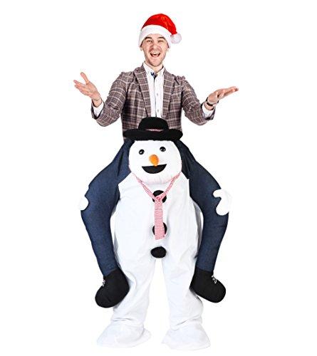 Huckepack Kostüm als Schneemann zu Weihnachten – lustiges Carry Me Kostüm & Trag Mich Kostüm für Damen und Herren – Aufsitzkostüm & Weihnachtskostüm ideal für Weihnachtsfeiern