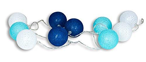 levandeo 10er Lichterkette LED Kugeln Lampions Baumwolle Blau Weiß Cotton Girlande Deko Cottonballs
