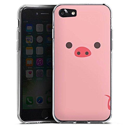 Apple iPhone X Silikon Hülle Case Schutzhülle Schwein Pig Comic Style Silikon Case transparent