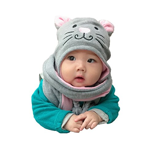 Kinder Winter Mütze Schal, Warme Baby Kleinkinder Mädchen Jungen Strickmützen Haube Kapuze Schal Hüte mit Niedlich Katze Muster -