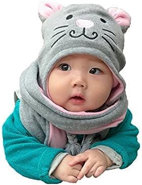 Kinder Winter Mütze Schal, Warme Baby Kleinkinder Mädchen Jungen Strickmützen Haube Kapuze Schal Hüte mit Niedlich...