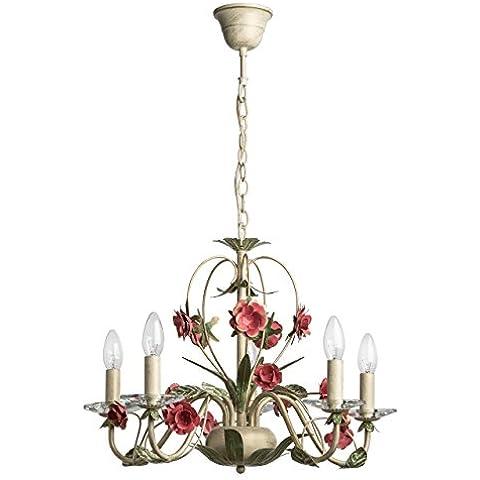 Lampadario da soffitto pendente decorativo fiore metallo dipinto bianco e