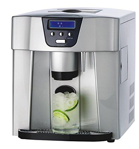Dispensador de hielo 4072: dispensador de hielo + dispensador de cubitos de hielo + dispensador de agua fría - conexión de agua externa o rellenable manualmente. Fabricador de cubitos de hielo • 8 kg / 24 h • 150 vatios • 2 dimensiones de cubo • Preparación de 6-12 min • Depósito de agua de 1,8 l • Pala • Acero inoxidable • silencioso • plata