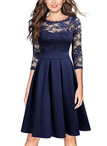 Miusol Vintage 1940s Encaje Fiesta Vestidos para Mujer Azul Marino Medium