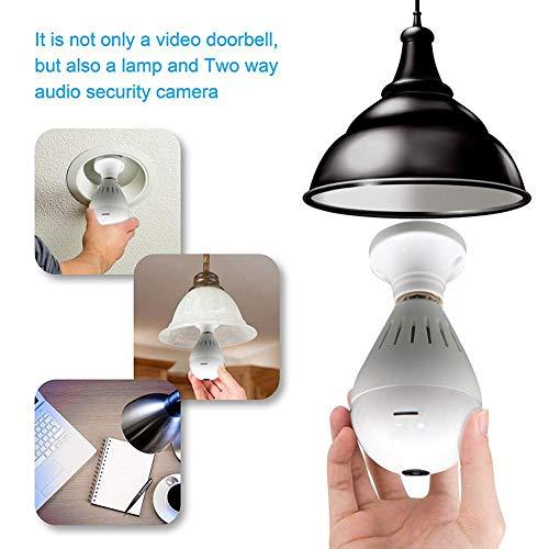 Home Kamera, WiFi Birne Kamera HD Remote Wireless 360 Grad 1080P Panorama Überwachung Smart WIFI Erkennung Nachtsicht Überwachungskamera (Wifi Video überwachungskamera)