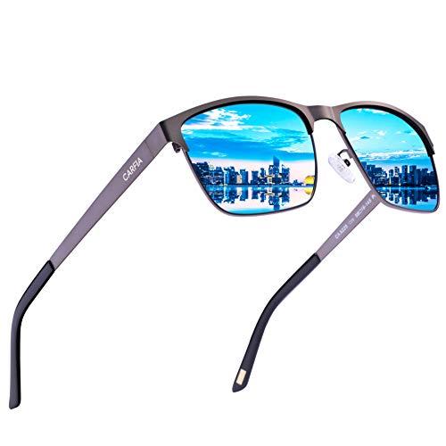 Carfia Polarisierte Herren Sonnenbrille Modische Metallrahmen Fahrer Sonnenbrille 100% UV400 Schutz für Golf, Autofahren, Outdoor Sport, Angeln (Gestell: Gunmetal, Gläser: Blau)