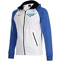 Nike Flight FZ Para Hombre Sudadera con Capucha de Baloncesto, Blanco-Azul, Color Blanco, Talla Small