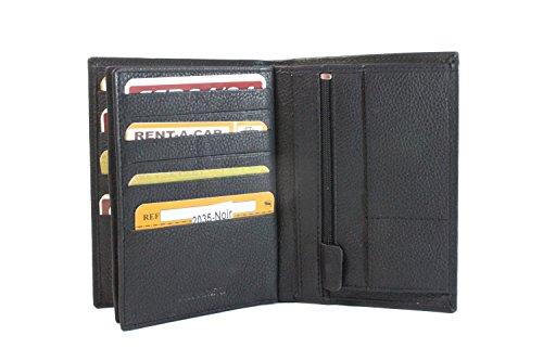 Frédéric Johns - Grand Portefeuille I Portefeuille Homme I Passeport I 4 Volets | Portefeuille Cuir I Rangement Carte (Noir)