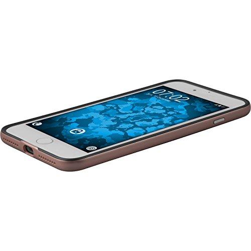 Hybridhülle für Apple iPhone 8 Plus - Carbonoptik grau - Cover PhoneNatic Schutzhülle + 2 Schutzfolien Roségold