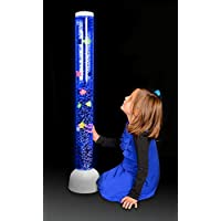 Playlearn Large - Bubble Tube LED Light Floor Novelty lamp with Fish, Balls - 105cm - White - New High Quality Model