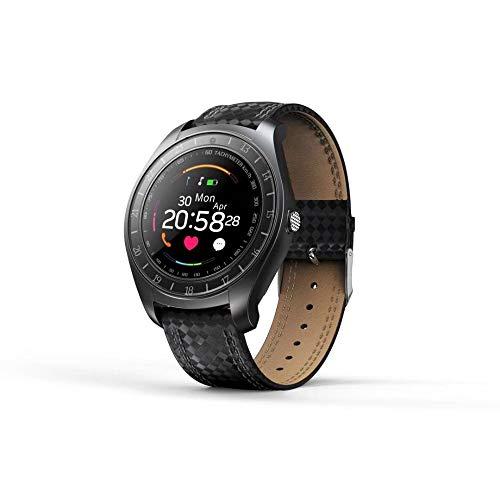Reloj Inteligente Pantalla Redonda Frecuencia Cardíaca Teléfono Inteligente con Tarjeta Cámara Digital De Fotos Reloj Digital Inteligente Negro