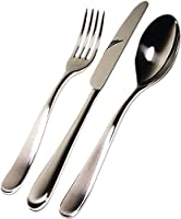 Cutlery set composed of six table spoons, six table knives monobloc, six coffee spoons, six table forks in steel mirror polished.