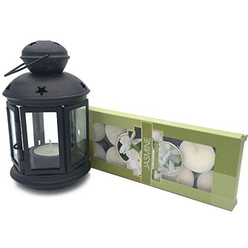 Farol decorativo hecho a mano para velas, hecho de metal y cristal, incluye 10velas de té aromáticas, 4opciones de color (verde, rosa, blanco, negro)
