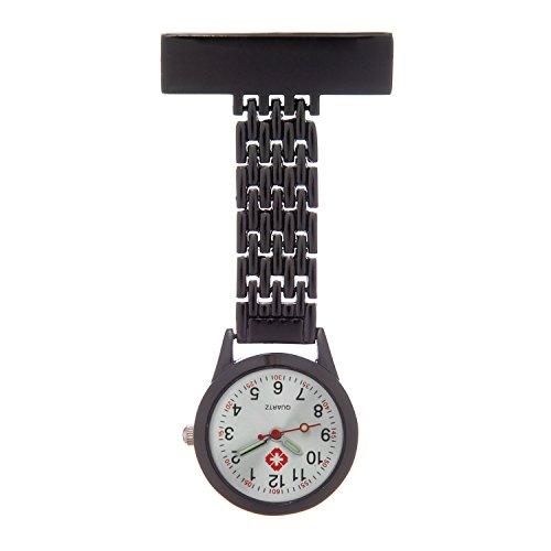 Ellemka JCM-1017 – En Vogue Schwesternuhr Clip zum Anstecken FOB Kittel Krankenschwester Pflege-r Quarz Puls-Uhr Taschen Ansteck-Nadel Metall-Band Trend Design Mode - Farbe Schwarz