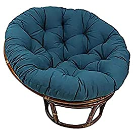 Coton Solide Papasan Patio Coussin De Siège Rond 52″ X 6″ X 52″ Rotin Coussin De Chaise en Osier Accueil Coussin De Sol Épais Nid Tapis-Bleu Marine Diamètre130cm(51inch)