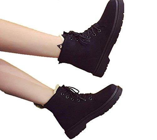 YCMDM Bottes de neige Winter Martin Bottes Femmes Plus Velours Chaussures de coton chauds Imperméables Beige Gris Noir Marron 39 36 35 38 40 37 Black