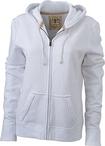JN942 Ladies´ Vintage Hoody Jacke Sweatjacke Sweatshirt Kapuze, Größe:M;Farbe:WHITE White Womens Sweatshirt