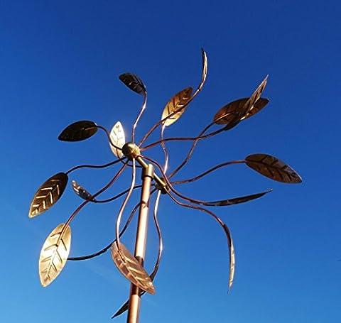 Main grande sculpture en cuivre pur de vent: haute qualité Artistic Pinwheels double face Wind Spinners pour décorations de jardin de pelouse maison