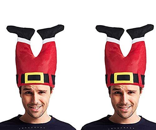 LADES Weihnachtsmütze - Nikolausmütze Rot Santa Beinhosen Mütze Christmas Hut Schneemann Kappe Crazy Hats Santa Pants Hat Weihnachtsdekoration (Rot+Rot)