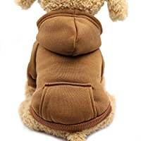 Idepet Dog Clothes Pet Dog Hoodies for Small Dogs Vest Chihuahua Clothes Warm Coat Jacket Autumn Puppy Outfits Cat Clothing Dogs Clothing (M, Coffee)