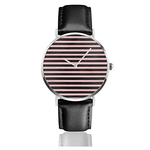 Baby Pink Schwarz Nautische Streifen Casual Uhren für Männer Frauen Damen Damen mit schwarzer Lederuhr ()