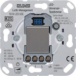 JUNG 1224 LED UDE Integrado Regulador de Intensidad Metálico - Reguladores (Regulador de Intensidad, Integrado, Metálico, 50/60, 0,5 W)