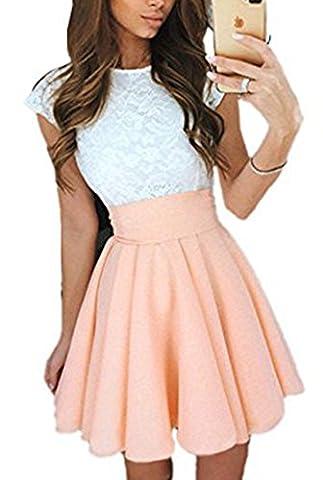 Jastore® Partykleider Cocktailkleider high waist elegant Sommerkleid Spitze Kleid Damen