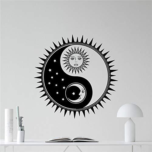 Baobaoshop Sonne Und Mond Yin Yang Wandtattoo Sun Stars Vinyl Aufkleber Sonnenschein Wanddekorkunst Kinder Teen Girl Boy Room Wandaufkleber 60x60cm