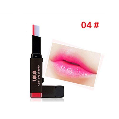 Rouge à lèvres mat, Toamen V-rouge à lèvres bicolore Imperméable Longue durée Brillant à lèvres Outil de maquillage Beauté (D)
