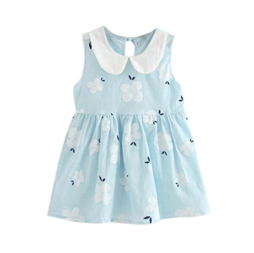 Kavitoz-baby dress for 2-7 Year Old Kid Dress ☀ Cute Toddler Baby Girls Summer Princess Dress Party Wedding Sleeveless Dresses (Blue, 3-4T)