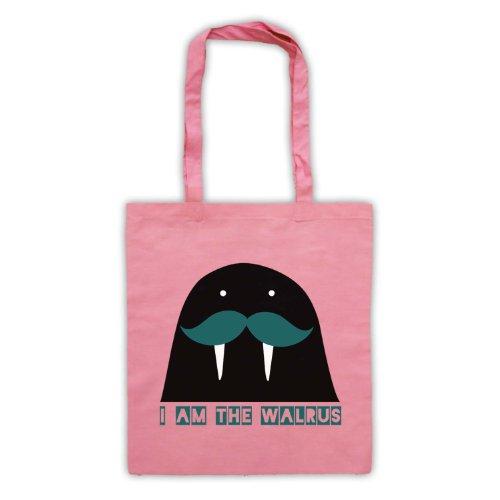 I Am il tricheco Slogan Tote Bag Rosa