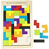 AlleTechPlus Wooden Tetris Puzzle 40 Pcs Brain Teasers Toy for Kids, Wood Puzzle Box Brain Games Wood Tangram Jigsaw Educational Toys Gift with New Package