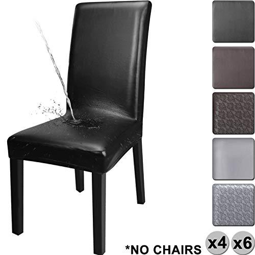 YISUN Cubiertas para sillas de Comedor, Cubierta Protectora Lavable removible de la PU del Estiramiento del Cuero de la PU...